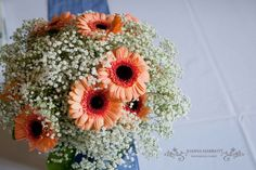 Wedding table arrangement made of white gypsophila, and coral mini gerberas.