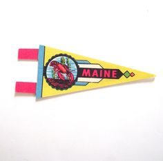 Maine Souvenir Pennant, Vintage Miniature ME Felt Flag in Bright Yellow with Lobster by planetalissa on Etsy https://www.etsy.com/listing/398714213/maine-souvenir-pennant-vintage-miniature