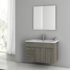 Shop for Nameeks ACF Wall Mounted Vanity Set with Wood Cabinet, Ceramic Top with 1 Sink and 1 Mirror - Grey Oak. Get free delivery On EVERYTHING* Overstock - Your Online Furniture Outlet Store! Oak Bathroom Vanity, Best Bathroom Vanities, Wood Vanity, Modern Bathroom, Bathroom Ideas, Bathroom Renovations, Bathroom Inspiration, Narrow Bathroom, Minimalist Bathroom