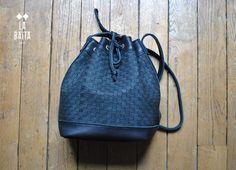 PAUL sac bourse cuir tissé noir mat la baita, labaita, tendance, cuir, sac à main, seau, noir, FW16