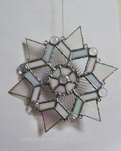 Snowflake. Pendant. Suncatcher. Home decor.Christmas,New Year. Winter. Stained Glass. #Handmade DizArtEx.  Type: Stained Glass (pendant, #suncatcher, decor); Motive: winte... #stainedglass #handmade #decor #homedecor #dizartex #housewares #snowflake #pendant #winter #transparent #tiffany #2014