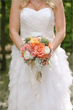 orange and pink bouquet coral and mint farm wedding strapless wedding dress