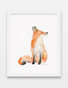 Unframed red fox watercolor art print. This is a high quality reproduction of my original watercolor painting. Materials: Printed and hand cut in-house on archival quality, fade resistant smooth Epson paper with a 51 lb/192 gsm basis weight and 10.3 mil thickness using Epson UltraChrome HD archival inks. Shipping: Prints size 11x14 and below will be packaged in a clear cello sleeve, backed by a 22pt chipboard sheet, inside a flat biodegradable extra-rigid fiberboard photo/document mailer and shi Watercolor Paintings Of Animals, Fox Painting, Watercolor Paintings For Beginners, Watercolor Sketch, Animal Paintings, Water Color Painting Easy, Watercolor Deer, Watercolor Pictures, Watercolor Artwork