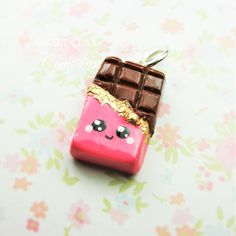 Chocolate Bar Kawaii Charm Polymer Clay Miniature Food Jewelry Handmade by Sweet Clay Creations