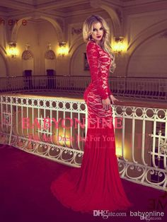 Hot&sexy backless long sleeves scoop neck mermaid red lace prom dresses 2014   BY1857