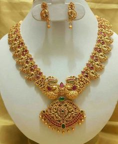 New collection gold haram designs - Fashion Beauty Mehndi Jewellery Blouse Design Gold Haram Designs, Gold Earrings Designs, Gold Jewellery Design, Gold Jewelry, Gold Necklace, Necklace Designs, Mango Necklace, Peacock Jewelry, Gold Designs