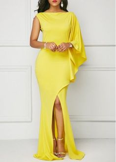 Yellow One Sleeve Front Slit Maxi Dress | Rosewe.com - USD $33.60