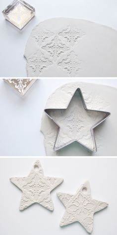 [ Christmas Crafts : Illustration Description make air dry clay stamped embossed christmas star decorations Clay Christmas Decorations, Christmas Clay, Diy Christmas Ornaments, Holiday Crafts, Christmas Stars, Homemade Christmas, Clay Magnets, Clay Ornaments, Air Dry Clay