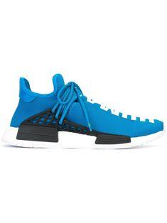 adidas by Pharrell Williams Adidas Originals x Pharrell Williams 'HU Race NMD' sneakers - Blue Nmd Sneakers, Blue Sneakers, Pharrell Williams, Adidas Tubular Nova, Kendall And Kylie Jenner, Versace Men, Adidas Nmd, Adidas Originals Mens, Leather