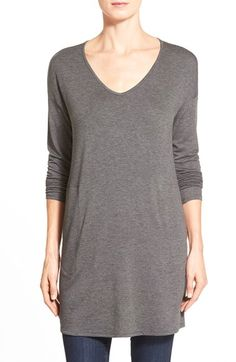 Gibson V-Neck Tunic with Pockets rayon/poly charcoal szS 34.5L 54.00