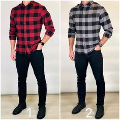 Flannel Season 🔴⚫️🔥 Which classic flannel shirt is your favorite❓Red and black or gray and black❓I did this in my poll a few weeks ago and… Flannel Shirt Outfit, Flannel Outfits, Mens Flannel Shirt, Stylish Mens Outfits, Casual Wear For Men, Casual Outfits, Business Casual Men, Mens Fashion Suits, Men's Fashion