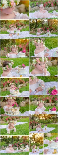 Tea Party Themed Garden First Birthday Cake Smash with rustic smash cake and fresh flowers by Haley Grant Photography in Austin Texas