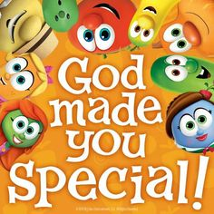 God made you special and He loves you very much! Veggie Tales Birthday, Veggie Tales Party, Operation Christmas Child Boxes, Christmas Bulletin Boards, Toddler Bible, Birthday Board, Birthday Ideas, God Made You, Veggietales