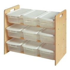 Lego Storage ideas - Little Colorado Toy Organizer they have the frame from their toy bin organizer, just buy dollar plastic shoe boxes to contain 9 lego kits.