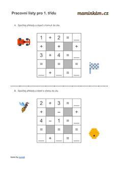 Pracovní listy 1. třída - matematika - počítání do 10 - závody Periodic Table, Diagram, Education, School, Worksheets, Creative, Kids, Teaching Math, Geometry