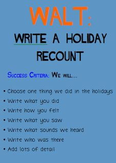 Digital Dudes- Between the Posts: WALT: Write a holiday recount