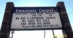 We are a Facebook Church   Christian Funny Pictures - A time to laugh
