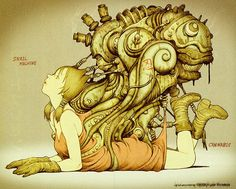Snail Machine by Tatsuyuki Tanaka Blog/Website (http://mkikai.jimdo.com/) ★ || CHARACTER DESIGN REFERENCES | マンガの描き方 • Find more artworks at https://www.facebook.com/CharacterDesignReferences  http://www.pinterest.com/characterdesigh and learn how to draw: #concept #art #animation #anime #comics || ★