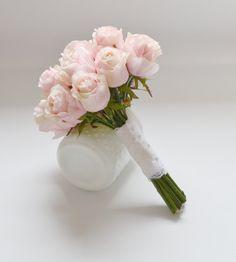 Rose Bud Bouquet - Pink Rose Bud Bouquet, Blush Rose Bud Bouquet, Rose,