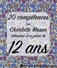 Charlotte mason: programme à 12 ans
