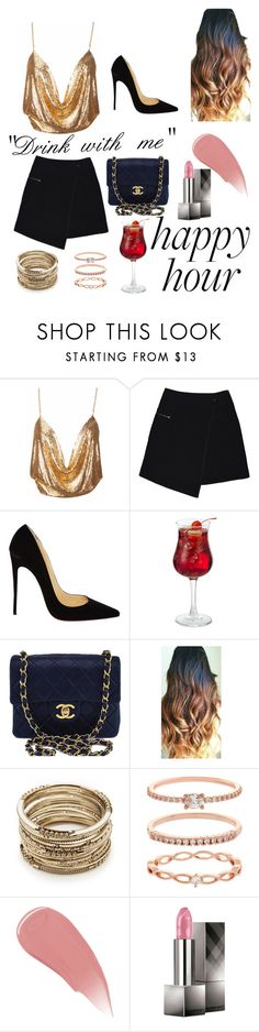 """""""Happy Hour"""" by lillyrezek ❤ liked on Polyvore featuring MARC CAIN, Christian Louboutin, Chanel, Sole Society, Accessorize and Burberry"""