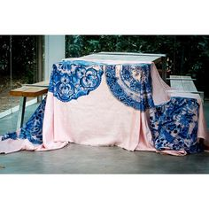 Pink silk tablecloth with Delft design sold in our Farm Shop. Pink Tablecloth, Farm Shop, Pink Silk, Delft, Tapestry, Classic, Places, Pattern, Christmas