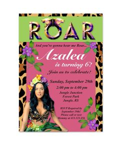 Katy Perry Roar Inspired Birthday Invitation by MyFashionLoveParty, $5.00