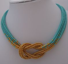 Turquoise and gold love knot