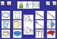 """""""Tablero de comunicación: Menaje"""". Recopilación de  diferentes tableros de comunicación de 12 casillas, organizados por necesidades básicas y centros de interés.  Los tableros pueden imprimirse tal como aparecen en los documentos o bien se puede modificar el contenido, la forma, el color, etc., para adaptarlos a las características individuales de cada usuario. Pueden utilizarse también para trabajar distintos repertorios de vocabulario agrupado por temas o categorías."""
