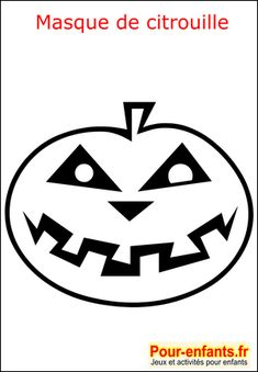 Halloween coloriage masque citrouille fabrication masque enfant de Halloween pour déguisement enfants