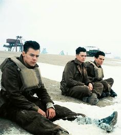 | Picture of Harry with Aneurin Barnard and Fionn Whitehead in #Dunkirk.
