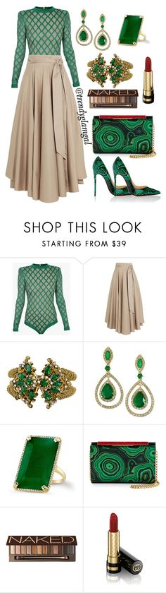 """Green Bodysuit"" by trendyglamgal ❤ liked on Polyvore featuring Balmain, TIBI, Miriam Haskell, Effy Jewelry, Anne Sisteron, Christian Louboutin, Urban Decay and Gucci"