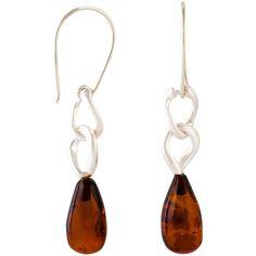 Be-Jewelled Cognac Sterling Silver Link Drop Hook Earrings, Amber (2 775 UAH) ❤ liked on Polyvore featuring jewelry, earrings, drop earrings, sterling silver drop earrings, hook earrings, earring jewelry and sterling silver jewelry