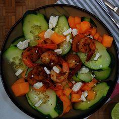 Cucumber & Cantaloupe Salad w/ shrimp