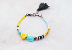 Boho Tassel Bracelet ,Seed beads, Friendship bracelet, stackable bracelet, Delicate Thin Tribal Bracelet, Gypsy hippie layered bracelet