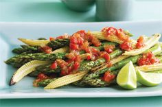 LOW GI LOW CARB Barbecued asparagus and baby corn with chilli jam