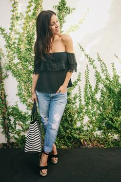 Off the shoulder top and distressed denim