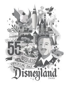 Disneyland 55th Anniversary Poster - Disneyland 60th Anniversary decades collection poster art.