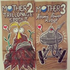 20130404#Mother2#Trillonage#Sprout and #Mother3#Atomic#Power#Robot#sketch #lunch #bag for my #sons. #art#anad#comic#cartoon#fanart#retro#paint#doodle#videogames#games#daily#family#school#draw#marker#sharpie#Japan#gameboy#Nintendo#artists_community