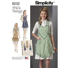 Take it back to the 1940s with these vintage Simplicity aprons. Pattern…