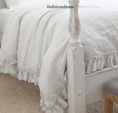 Frayed Ruffle Linen Duvet Cover Luxury Bedding                         – Hallstrom Home