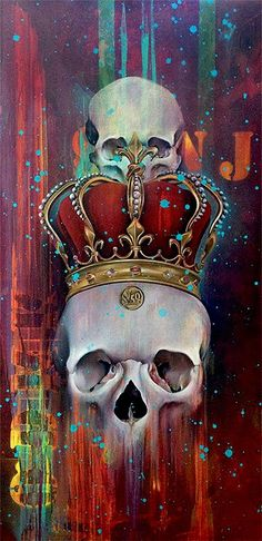 Skulls:  #Skull Oil Paintings, by Jade Doreen Waller, at Asylum Art.