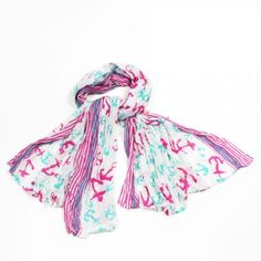 http://www.artfire.com/ext/shop/studio/bohemiantouch/1/1/10311//  Anchor Print Pink and Mint Print Celebrity Look Soft Touch Fashion Shawl Scarf, scarf is a great addition to your collection of fashion accessories. Perfect for all year round.