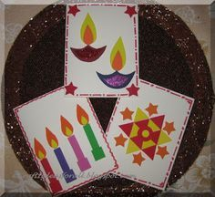 Craft Ideas for all: Diwali cardmaking craft activity for kids - make Divali cards and decorate with coloured foam shapes