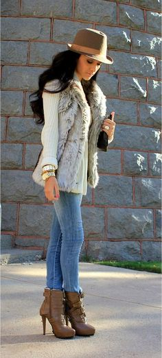 """Fedora!"" - beautiful fedora hat with a off white long sleeve with a faux fur vest. denim jeans with high heeled ankle boots. #love"