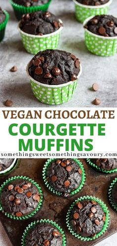 These Chocolate chip Zucchini (courgette) muffins are deeply dark, rich and oh so chocolately! Use dairy free chocolate to make this recipe suitable for vegans. #chocolatecourgettemuffinrecipe #chocolatezucchinimuffins #chocolatezucchinimuffinrecipe