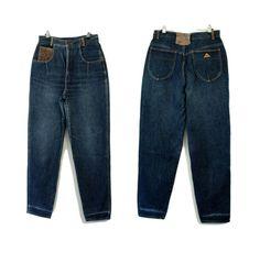 RM Williams Dark 80s Denim Jeans Suede Leather Patchwork Cowboy Mom boyfriend Denim Jeans, Mom Jeans, Rm Williams, Suede Leather, Boyfriend, Dark, Pants, Fashion, Scrappy Quilts