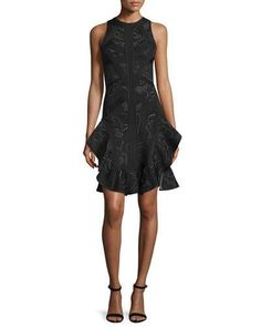 HERVE LEGER Sleeveless Origami-Hem Dress, Black/Combo. #herveleger #cloth #