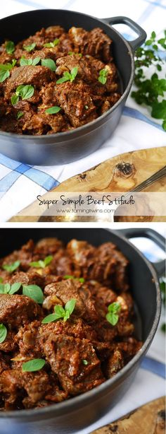 Slimming Slimming World Beef Stifado Recipe - This simple slow cooked Beef Stifado is a perfect winter warming family meal. Greek Recipes, Meat Recipes, Slow Cooker Recipes, Cooking Recipes, Healthy Recipes, Beef Shin Recipes, Indian Recipes, Shrimp Recipes, Recipes Dinner