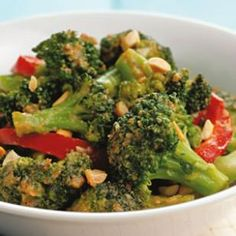 stir fry broccoli with peanut sauce, made this tonight so good! over brown rice